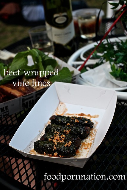 beef wrapped vine leaves