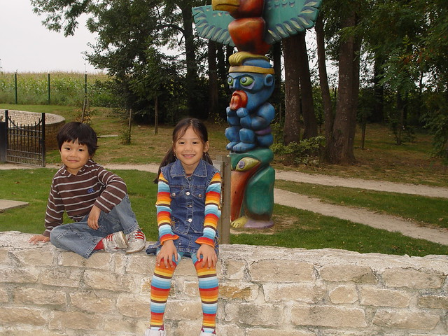 totem pole and kids