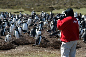Producer Miguel Bermejo filming local wildlife.