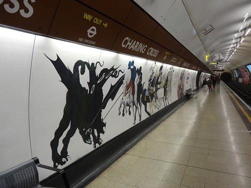 Bakerloo line platform at Charing Cross with art