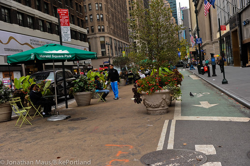 Broadway protected bike lane and plazas-43
