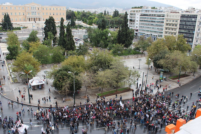 demonstration in Syntagma square, Athens