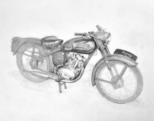 Triumph Terrier drawing by Colin Murdoch Studio