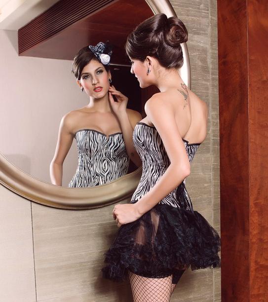 Corset bustier serre taille corsage z br noir et blanc - Porter un corset tous les jours ...