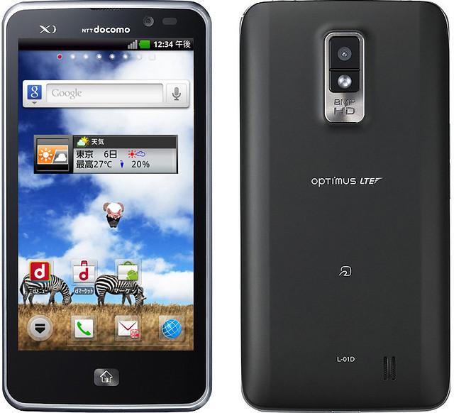 Optimus LTE L-01D 実物大の製品画像