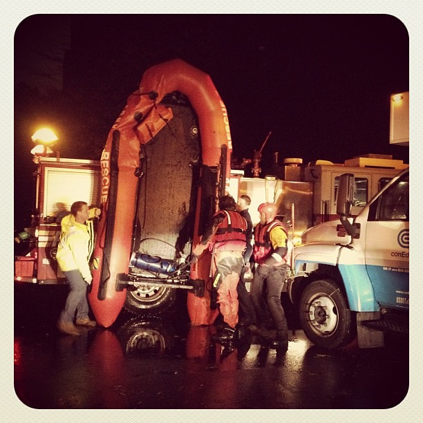 WTF! FDNY + ConEd bringing out a boat on 14th and Ave B last night! #sandy