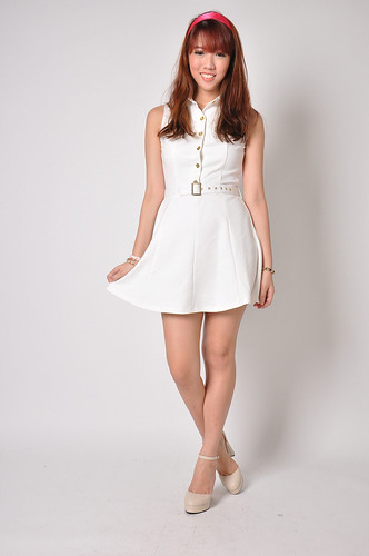 Collared Shirt Dress in White