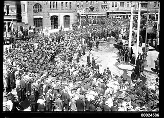 Troops of the Australian Naval and Military Expeditionary Force marching near Circular Quay, Sydney