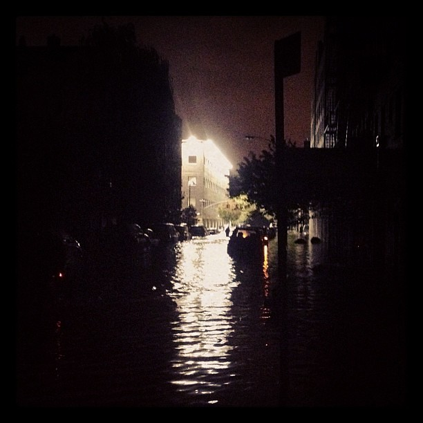 Flooded police station in Alphabet City last night. #sandy #nyc