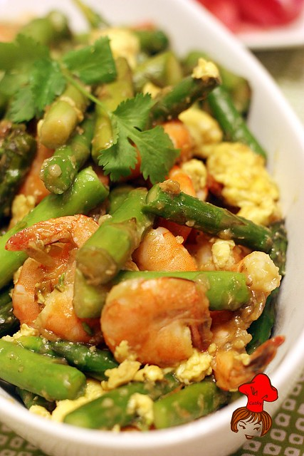 綠蘆筍炒蝦仁 Stir Fry Asparagus with Shrimp 1