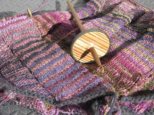Betty's Tee in progress, with Golding spindle