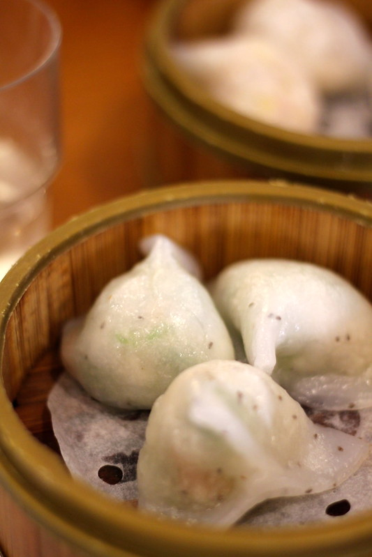 Snow pea and mushroom dumplings