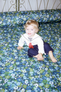 Me on an amazing blue floral bedspread