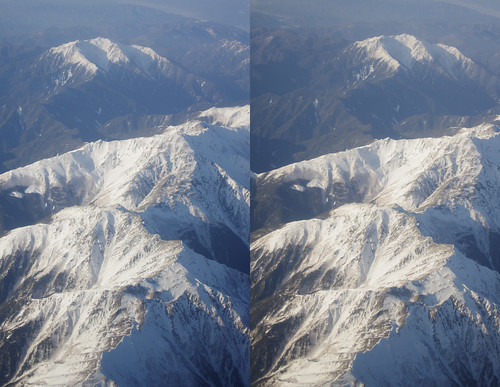Mount Notori and Mount Aino, stereo parallel view