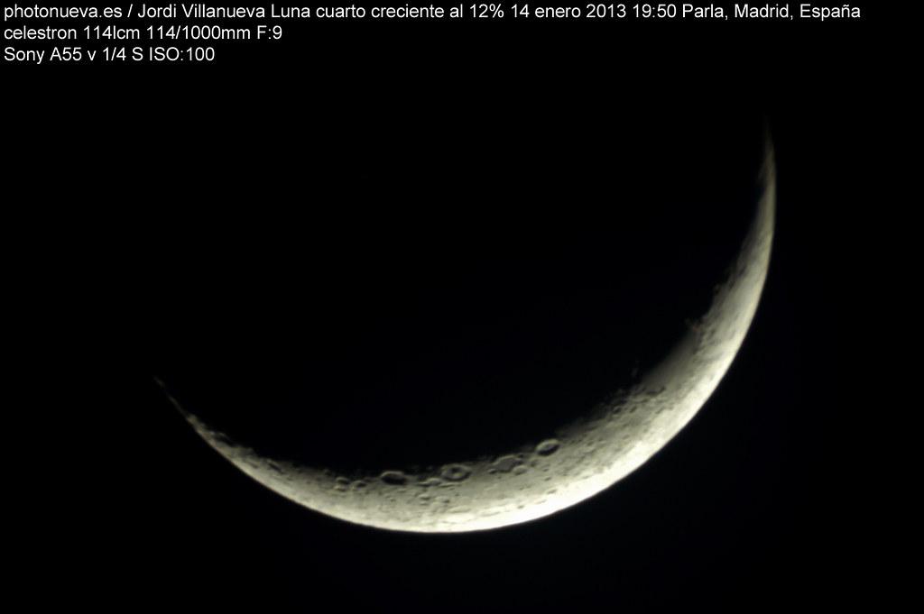 Luna en cuarto creciente al 12% y 19%