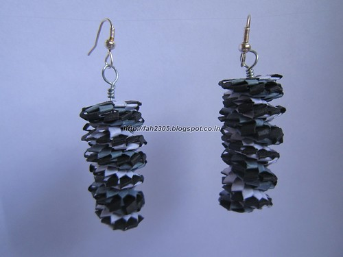 Handmade Jewelry - Paper Lanyard Earrings (Twisted Non) (1) by fah2305