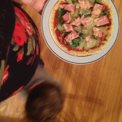 I'm pregnant and want pizza, no pad Thai. Wait, no a Ranch panini, or was it . . . Yeah, pizza. I whipped up a #glutenfree #paleo pizza crust by way of @nutty4nutrition's late night pizza fix from last night. Gratuitous #28weeks #babybump and #toddlerdriv