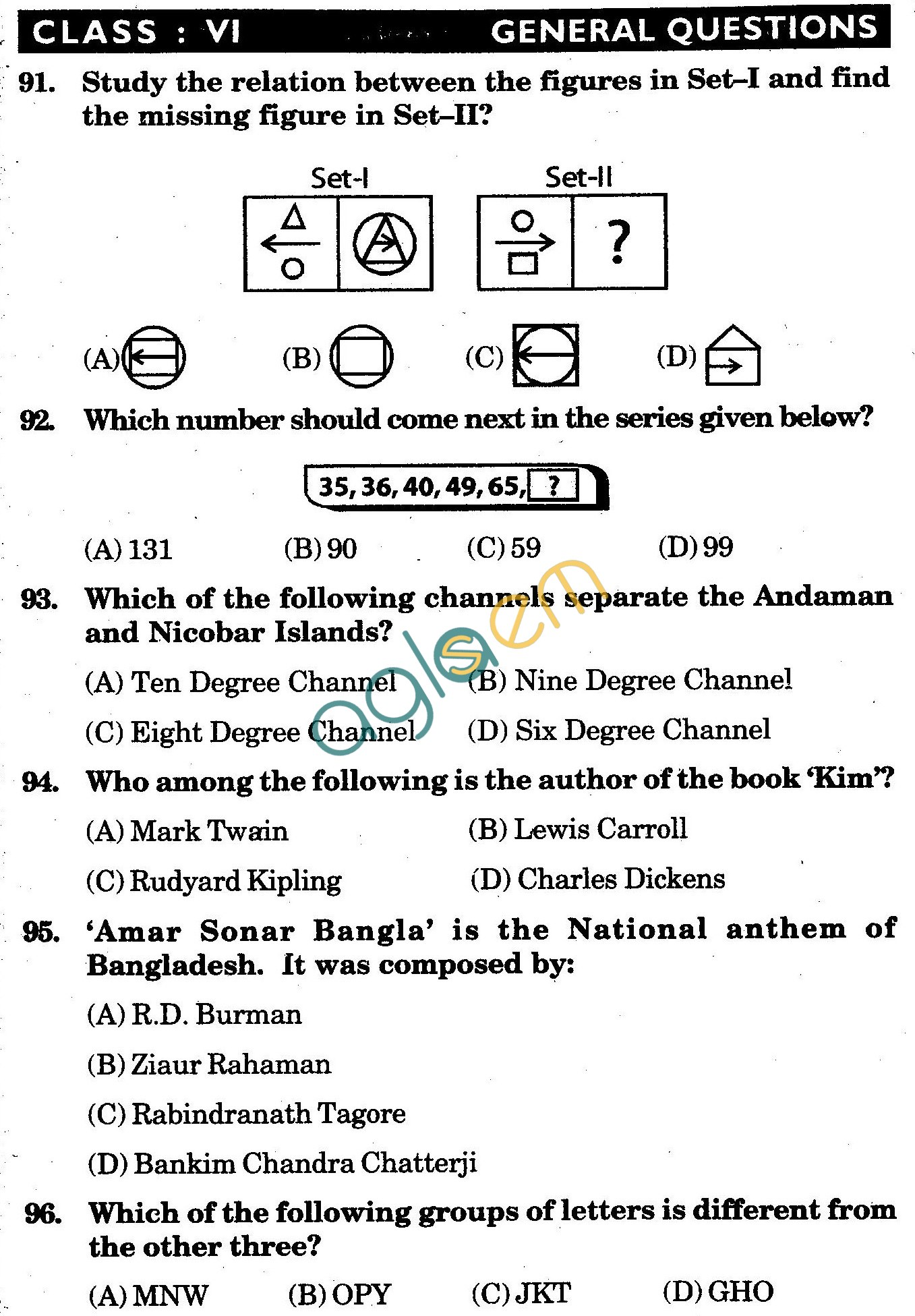 NSTSE 2010 Class VI Question Paper with Answers - General Knowledge