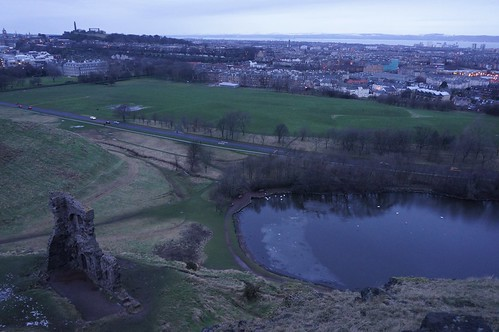 Looking down to St Anthony's Chapel and St Margaret's Loch, Edinburgh