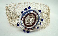 Lampwork Button and Crocheted Wire Cuff
