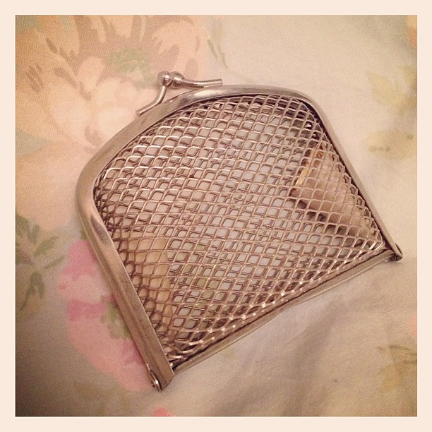 Adorable metal coin purse I charity shopped today for the shop.