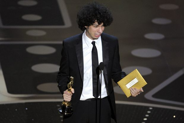 Luke Matheny, host of this year's Live Action Oscar Nominated Shorts program, accepts the Oscar for best live action short film for 'God of Love' at the Academy Awards in 2011. (AP Photo/Mark J. Terrill)