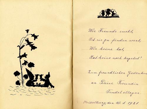 Klaras Poesiealbum 1921 Scherenschnitt