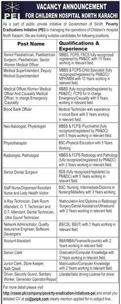 Children Hospital North Karachi Jobs