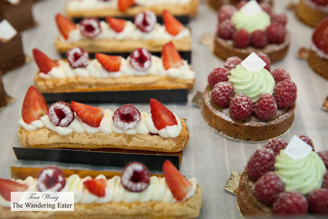 Eclairs and raspberry pistachio tarts