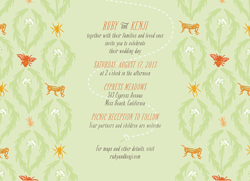 meadow damask wedding invitation
