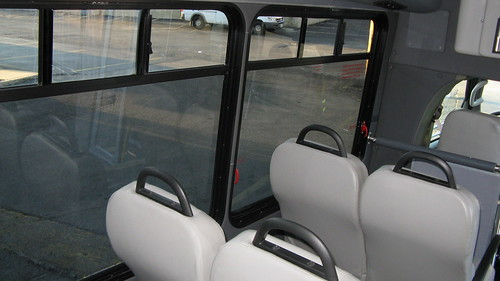 Interior of First Transit 2009 Chevrolet paratransit township mini bus.  Glenview Illinois.  September 2012. by Eddie from Chicago