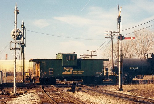 Northbound Burlington Northern transfer train passing through Brighton Junction.  Chicago Illinois.  January 1988. by Eddie from Chicago