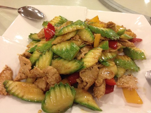 stir fried veggie chicken slices with zuchinni
