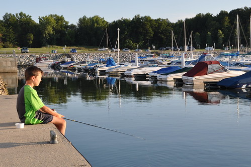 Carson fishing at the marina