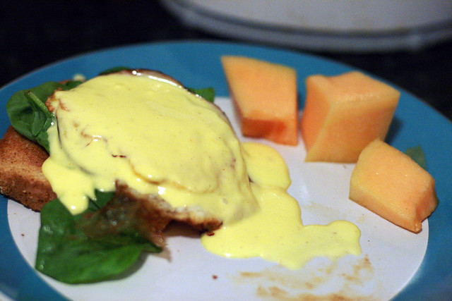 Egg, Spinach, and Ham on Toast with Hollandaise