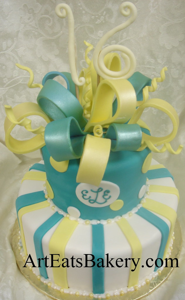 Two Tier White Aqua Blue And Yellow Fondant Girl S Sweet Sixteen