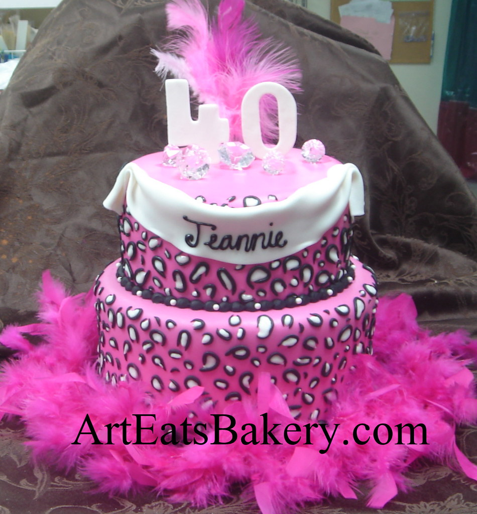 Two Tier Pink White And Black Leopard Print Ladys 40th Birthday