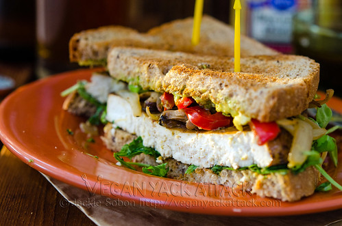 A melody of flavors in this marinated Balsamic Baked Tofu Sandwich come together to produce great results! Nut-free, Vegan
