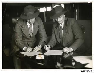 Two female medical personnel on board TSS ORANJE II, June 1941