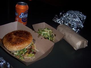 Pacman burger, short rib taco, spicy pork burrito
