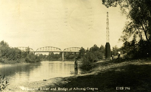 Willamette River and Bridge at Albany, Oregon