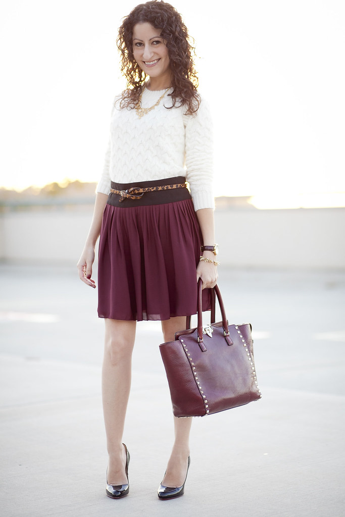 Silk Skirt & Cable Sweater