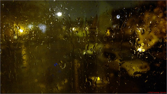 Hurricane Sandy through window in night
