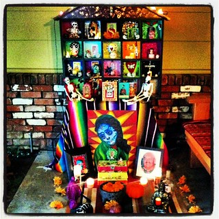 She is done! #shrine #halloween #diadelosmuertos #dayofthedead #sugarskull #ofrenda #sacramento dedicated to my #ancestors