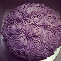 Cake for a christening for a little girl called Violet! The layers inside are pink and purple :) @dazzlemebelfast