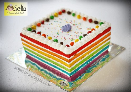 Simple Rainbow Cake with Purple Leaf