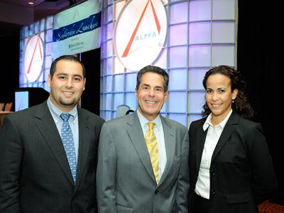 Image of Dean Magid with students at a ALPFA event