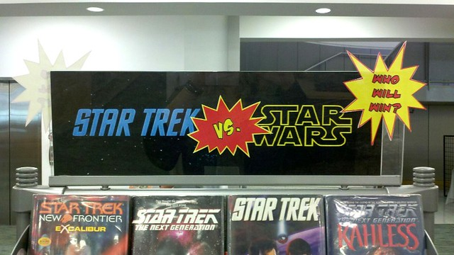 star wars v. star trek library display