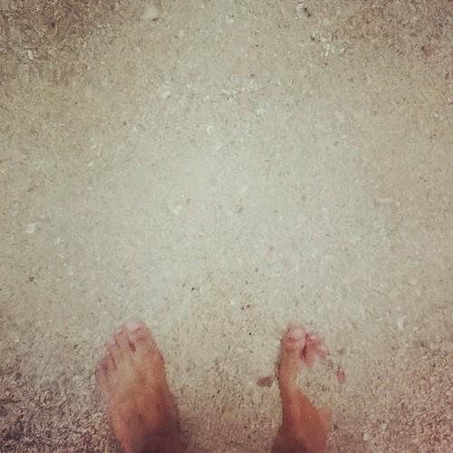 Hot, white sand under my feet