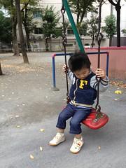 朝散歩 - 恵比寿公園でブランコ (2012/11/3)